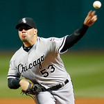Chicago White Sox starting pitcher Hector Santiago pitches in the first inning of a baseball game against the Cleveland Indians, Monday, Oct. 1, 2012, in Cleveland. (AP Photo/Tony Dejak)