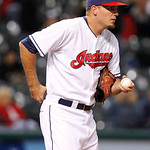 Cleveland Indians pitcher Scott Maine reacts after giving up a grand slam to Chicago White Sox's left fielder Dayan Viciedo in the ninth inning of a baseball game, Monday, Oct. 1, 2012, in C …