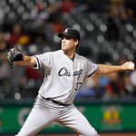 Chicago White Sox's Matt Thornton pitches in a baseball game against the Cleveland Indians, Tuesday, Oct. 2, 2012, in Cleveland. (AP Photo/Tony Dejak)