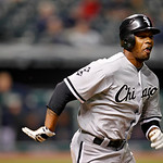 Chicago White Sox's Dewayne Wise runs out a ground  ball in a baseball game against the Cleveland Indians, Tuesday, Oct. 2, 2012, in Cleveland. (AP Photo/Tony Dejak)