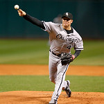 Chicago White Sox starting pitcher Jake Peavy pitches in a baseball game against the Cleveland Indians, Tuesday, Oct. 2, 2012, in Cleveland. (AP Photo/Tony Dejak)