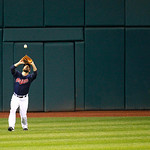 Cleveland Indians' Russ Canzler catches a ball in a baseball game against the Chicago White Sox, Tuesday, Oct. 2, 2012, in Cleveland. (AP Photo/Tony Dejak)