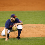 Cleveland Indians starting pitcher Justin Masterson looks toward first base in a baseball game against the Chicago White Sox, Tuesday, Oct. 2, 2012, in Cleveland. (AP Photo/Tony Dejak)