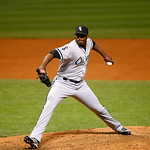 Chicago White Sox's Donnie Veal pitches in a baseball game against the Cleveland Indians, Tuesday, Oct. 2, 2012, in Cleveland. (AP Photo/Tony Dejak)