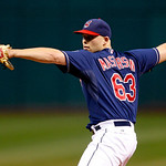 Cleveland Indians starting pitcher Justin Masterson pitches in a baseball game against the Chicago White Sox, Tuesday, Oct. 2, 2012, in Cleveland. (AP Photo/Tony Dejak)