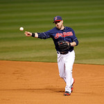 Cleveland Indians second baseman Jason Kipnis throws to first base in a baseball game against the Chicago White Sox, Tuesday, Oct. 2, 2012, in Cleveland. (AP Photo/Tony Dejak)