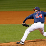 Cleveland Indians relief pitcher Chris Perez pitches in a baseball game against the Chicago White Sox, Tuesday, Oct. 2, 2012, in Cleveland. (AP Photo/Tony Dejak)