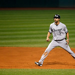 Chicago White Sox's Jordan Danks leads off second base in a baseball game against the Cleveland Indians, Tuesday, Oct. 2, 2012, in Cleveland. (AP Photo/Tony Dejak)