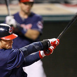 Cleveland Indians' Jason Donald hits an RBI single off Chicago White Sox's Nate Jones in the 12th inning of a baseball game, Tuesday, Oct. 2, 2012, in Cleveland. Lonnie Chisenhall scored. Th …