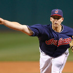 Cleveland Indians starter Justin Masterson pitches in the first inning of a baseball game against the Chicago White Sox, Tuesday, Oct. 2, 2012, in Cleveland. (AP Photo/Tony Dejak)