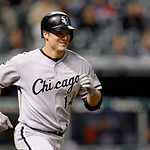 Chicago White Sox's Paul Konerko runs out a ground ball in a baseball game against the Cleveland Indians, Wednesday, Oct. 3, 2012, in Cleveland. (AP Photo/Tony Dejak)