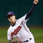 Cleveland Indians starting pitcher David Huff delivers in the first inning of a baseball game against the Chicago White Sox, Wednesday, Oct. 3, 2012, in Cleveland. (AP Photo/Tony Dejak)