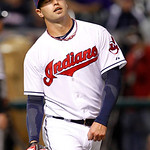 Cleveland Indians starting pitcher David Huff reacts after giving up a two-run home run to Chicago White Sox's Paul Konerko in the fifth inning of a baseball game, Wednesday, Oct. 3, 2012, i …