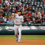 Chicago White Sox's Jose Lopez throws to first base in a baseball game against the Cleveland Indians, Wednesday, Oct. 3, 2012, in Cleveland. (AP Photo/Tony Dejak)