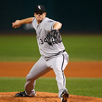 Chicago White Sox's Gavin Floyd pitches in a baseball game against the Cleveland Indians, Wednesday, Oct. 3, 2012, in Cleveland. (AP Photo/Tony Dejak)