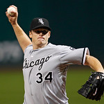 Chicago White Sox starting pitcher Gavin Floyd delivers in the first inning of a baseball game against the Cleveland Indians, Wednesday, Oct. 3, 2012, in Cleveland. (AP Photo/Tony Dejak)