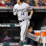 Chicago White Sox's Paul Konerko runs the bases after hitting a two-run home run off Cleveland Indians starting pitcher David Huff in the fifth inning of a baseball game, Wednesday, Oct. 3, …