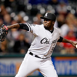 Chicago White Sox's Leyson Septimo pitches in a baseball game against the Cleveland Indians, Wednesday, Oct. 3, 2012, in Cleveland. (AP Photo/Tony Dejak)