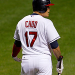 Cleveland Indians' Shin-Soo Choo looks back at the home plate umpire during a baseball game against the Chicago White Sox, Wednesday, Oct. 3, 2012, in Cleveland. (AP Photo/Tony Dejak)
