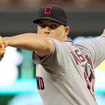 Cleveland Indians starting pitcher Justin Masterson (63) throws against the Minnesota Twins during the first inning of a baseball game, Monday, Sept. 10, 2012, in Minneapolis. (AP Photo/Gene …