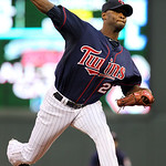 Minnesota Twins starting pitcher Samuel Deduno (21) throws against the Cleveland Indians during the first inning of a baseball game, Monday, Sept. 10, 2012, in Minneapolis. (AP Photo/Genevie …