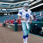 Texas Rangers closer Joe Nathan, dressed as Dallas Cowboys quarterback Tony Romo (9), walks to the teams dugout following batting practice before a baseball game against the Cleveland Indian …