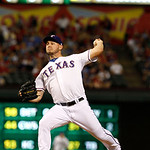 Texas Rangers starting pitcher Matt Harrison (54) delivers to the Cleveland Indians during a baseball game Tuesday, Sept. 11, 2012, in Arlington, Texas. The Rangers won 6-4. (AP Photo/Tony G …
