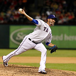 Texas Rangers relief pitcher Mike Adams delivers to the Cleveland Indians in the eighth inning of a baseball game Tuesday, Sept. 11, 2012, in Arlington, Texas. The Rangers won 6-4. (AP Photo …