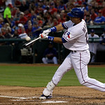 Texas Rangers' Leonys Martin follows through on a swing against the Cleveland Indians during a baseball game Tuesday, Sept. 11, 2012, in Arlington, Texas. The Rangers won 6-4. (AP Photo/Tony …