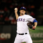 Texas Rangers' Joe Nathan delivers to the Cleveland Indians in the ninth inning of a baseball game Tuesday, Sept. 11, 2012, in Arlington, Texas. The Rangers won 6-4. (AP Photo/Tony Gutierrez …