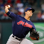 Cleveland Indians starting pitcher Ubaldo Jimenez (30) delivers to the Texas Rangers during a baseball game Tuesday, Sept. 11, 2012, in Arlington, Texas. The Rangers won 6-4. (AP Photo/Tony  …