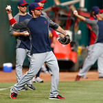 Cleveland Indians' Brent Lillibridge throws during batting practice before a baseball game against the Texas Rangers Thursday, Sept. 13, 2012, in Arlington, Texas. (AP Photo/Tony Gutierrez)