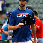 Texas Rangers' Scott Feldman walks on the field during batting practice before a baseball game against the Cleveland Indians Thursday, Sept. 13, 2012, in Arlington, Texas. (AP Photo/Tony Gut …