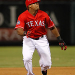 Texas Rangers' Adrian Beltre (29) sprints to third during a baseball game against the Cleveland Indians Thursday, Sept. 13, 2012, in Arlington, Texas. The Indians won 5-4. (AP Photo/Tony Gut …