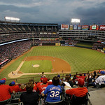 Texas Rangers Ballpark in Arlington appears in the first inning of a baseball game against the Cleveland Indians, Thursday, Sept. 13, 2012, in Arlington, Texas. (AP Photo/Tony Gutierrez)