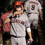 Cleveland Indians' Jason Kipnis walks through the dugout after hitting his two-run home run off of Texas Rangers' Joe Nathan in the ninth inning of a baseball game Thursday, Sept. 13, 2012,  …