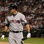 Cleveland Indians' Lonnie Chisenhall (8) after striking out against the Texas Rangers during a baseball game Thursday, Sept. 13, 2012, in Arlington, Texas. The Indians won 5-4. (AP Photo/Ton …