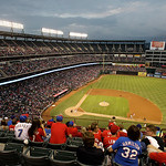 A view of the Texas Rangers Ballpark in Arlington during a baseball game against the Cleveland Indians Thursday, Sept. 13, 2012, in Arlington, Texas. The Indians won 5-4. (AP Photo/Tony Guti …