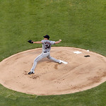 Cleveland Indians starting pitcher Zach McAllister (34) delivers to the Texas Rangers during a baseball game Thursday, Sept. 13, 2012, in Arlington, Texas. The Indians won 5-4. (AP Photo/Ton …