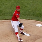 Texas Rangers starting pitcher Derek Holland (45) delivers to the Cleveland Indians during a baseball game Thursday, Sept. 13, 2012, in Arlington, Texas. The Indians won 5-4. (AP Photo/Tony  …