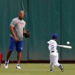 Texas Rangers' Adrian Beltre (29) smiles as he gets throws a little batting practice to his son Adrian Jr., before a baseball game against the Cleveland Indians Thursday, Sept. 13, 2012, in  …