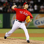 Texas Rangers relief pitcher Koji Uehara (19) of Japan delivers to the Cleveland Indians during a baseball game Thursday, Sept. 13, 2012, in Arlington, Texas. The Indians won 5-4. (AP Photo/ …