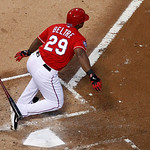 Texas Rangers' Adrian Beltre (29) sprints out of the batter's box on his single to left in the second inning of a baseball game off of pitch from Cleveland Indians starter Zach McAllister, T …