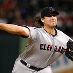 Cleveland Indians relief pitcher Chris Perez (54) delivers to the Texas Rangers in the ninth inning of a baseball game Thursday, Sept. 13, 2012, in Arlington, Texas. The Indians won 5-4.  (A …