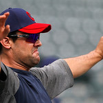 Cleveland Indians' Casey Kotchman stretches during batting practice before a baseball game against the Texas Rangers Thursday, Sept. 13, 2012, in Arlington, Texas. (AP Photo/Tony Gutierrez)