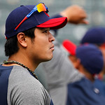Cleveland Indians' Shin-Soo Choo of South Korea participates in batting practice before a baseball game against the Texas Rangers Thursday, Sept. 13, 2012, in Arlington, Texas. (AP Photo/Ton …