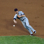 Cleveland Indians shortstop Brent Lillibridge throws to first during a baseball game against the Texas Rangers Thursday, Sept. 13, 2012, in Arlington, Texas. The Indians won 5-4. (AP Photo/T …