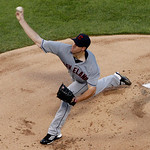 Cleveland Indians starting pitcher Zach McAllister delivers to the Texas Rangers in the first inning of a baseball game on Thursday, Sept. 13, 2012, in Arlington, Texas. (AP Photo/Tony Gutie …