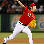 Texas Rangers relief pitcher Koji Uehara (19) of Japan delivers to the Cleveland Indians a baseball game Thursday, Sept. 13, 2012, in Arlington, Texas. The Indians won 5-4. (AP Photo/Tony Gu …