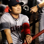 Cleveland Indians' Shin-Soo Choo of South Korea in the dugout during a baseball game against the Texas Rangers Thursday, Sept. 13, 2012, in Arlington, Texas. The Indians won 5-4. (AP Photo/T …